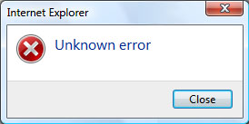 Error Message - Unknown Error
